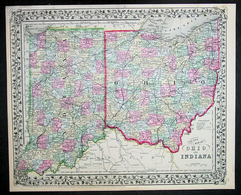 1870 Samuel Augustus Mitchell Antique County Map of Ohio and Indiana