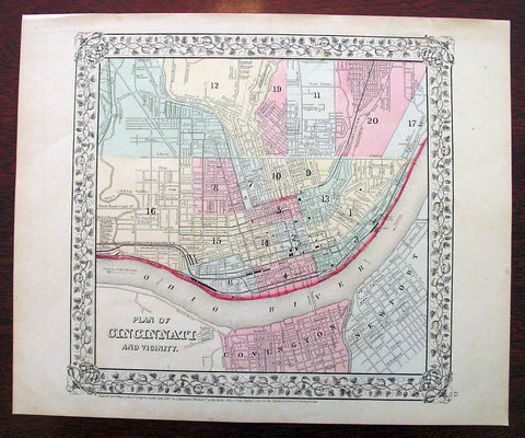 1869 Mitchell Antique Map - Plan of The City of Cincinnati