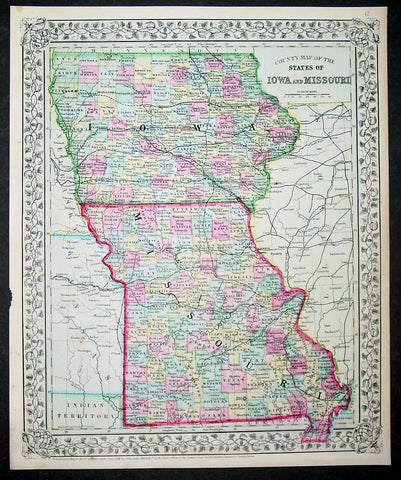 1870 Samuel Augustus Mitchell Antique County Map of Iowa and Missouri