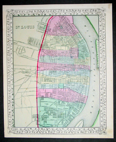 1870 S Augustus Mitchell Antique Map Plan City of St Louis, Missouri