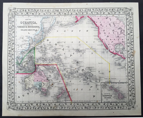 1867 Mitchell Antique Map of The Pacific, Australia, America, China & Hawaii