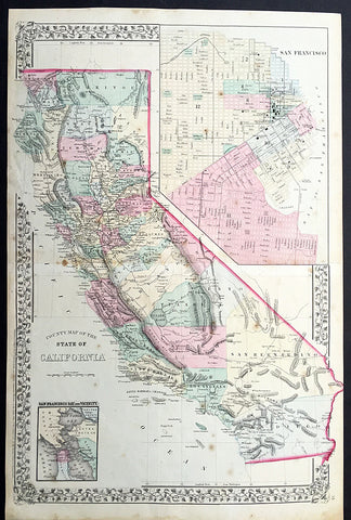 1869 Mitchell Large Antique Map of California