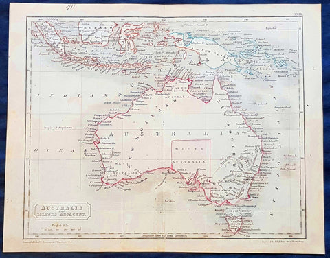 1830 Sydney Hall Antique Map of Australia, New Holland, Swan River Settlement