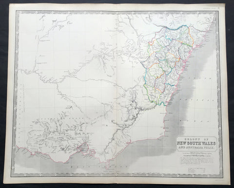 1845 Johnston Large Antique Map of New South Wales & Victoria, Australia Felix