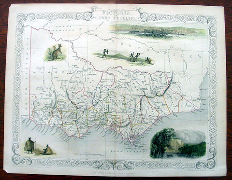 1851 Tallis Antique Map of Victoria or Port Phillip, Australia