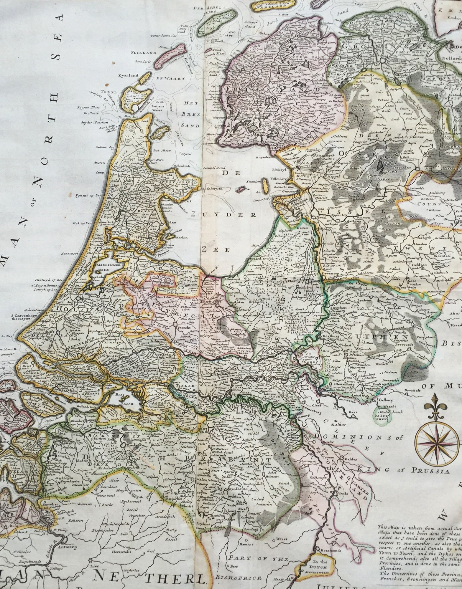 1720 Herman Moll Large Antique Map of The Netherlands Holland VII