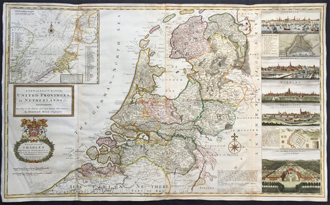 1720 Herman Moll Large Antique Map of The Netherlands - Holland, VII Provinces