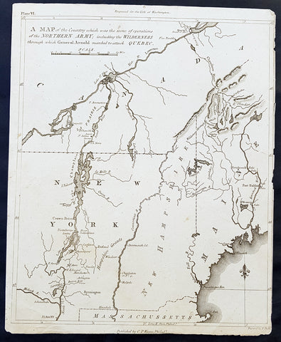 1804 J Marshall Original Antique American Revolutionary War Map Battle of Quebec