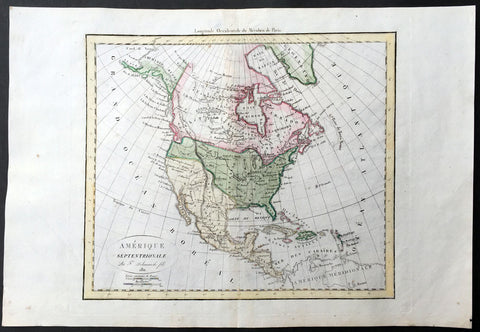 1811 Delamarche Antique Map of North America, Russian Alaska