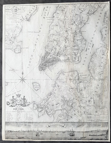 1854 Bernard Ratzer & DT Valentine Antique Map & View of New York City in 1766