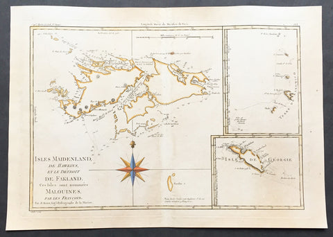 1780 Rigobert Bonne Old, Antique Map of the Falkland Islands - Malvinas Is.