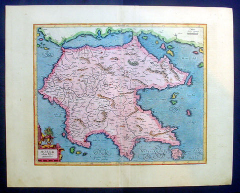 1623 Mercator Hondius Antique Map of Morea - the Greek Peloponnesus, Greece
