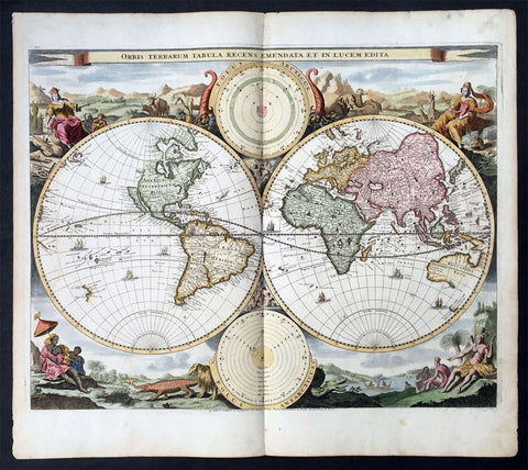 1714 Visscher & Stoopendaal Large Antique Twin Hemisphere World Map