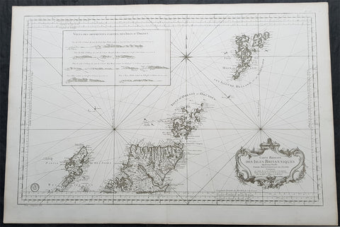 1757 Bellin Large Antique Map of Scotland, Orkneys, Shetlands, Lewis & Harris