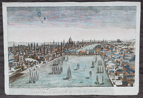 1760 Vue D Optique Antique Print View of London, Old London Bridge to St Pauls