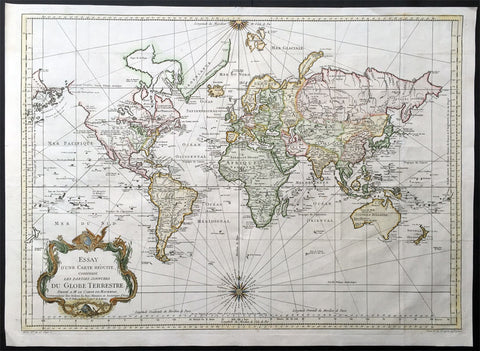 1748 (1770) Bellin Antique World Map on Mercators Projection