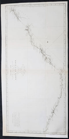1774 Capt James Cook Large Antique Map 1st Chart of The East Coast of Australia