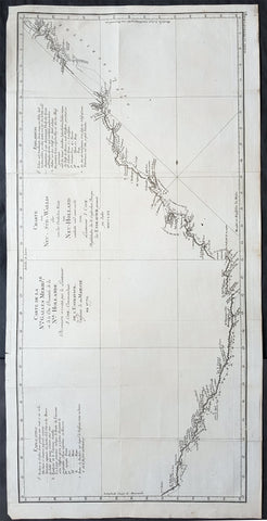 1773 Cook Large Antique Map The East Coast of New Holland, Australia. 1st Survey