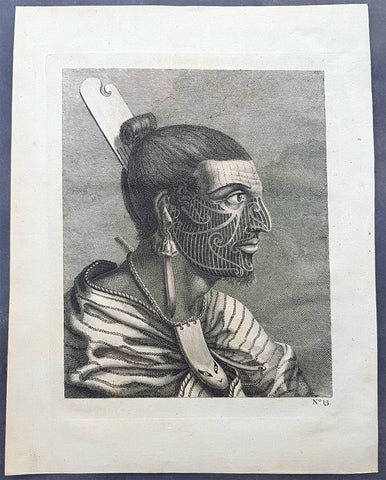 1773 Cook Original 1st Ed. Antique Print of a Tattooed New Zealand Maori Warrior