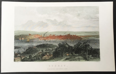 1865 George Frederick Sargent Antique Print View of Sydney across the Harbour