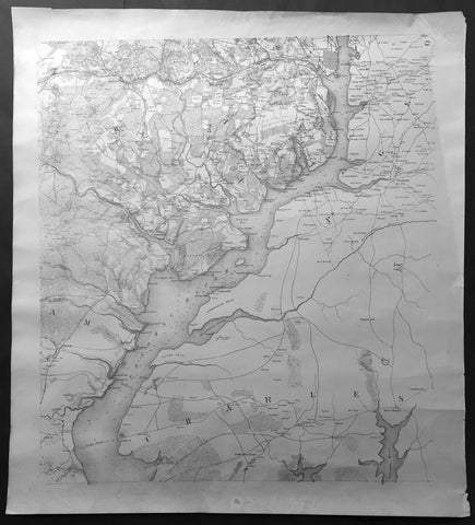 1861-65 Large Antique American Civil War Map of The Potomac River, Alexandria