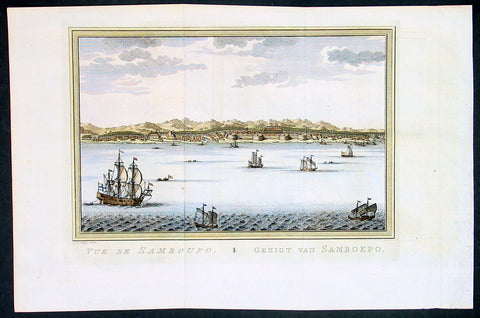 1755 Prevost & Schley Antique Print, View of Makassar in Sulawesi, Indonesia