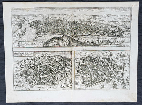 1574 Braun & Hogenberg Antique Map City Views of Rouen, Nimes & Bordeaux France