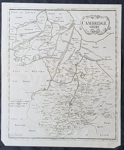 1722 Robert Morden Antique Map of the English County of Cambridgeshire