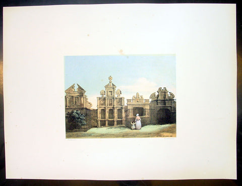 1849 Fairbairn Large Folio Antique Print of Old Tombs High Church Yard, Glasgow