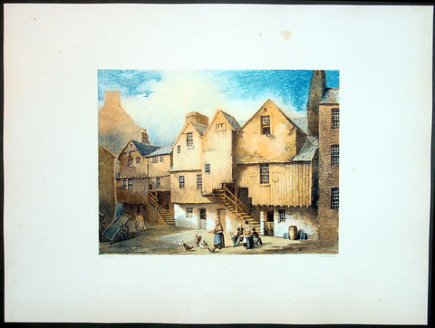 1849 Fairbairn Large Folio Antqiue Print of Houses Saltmarket St Gorbals Glasgow