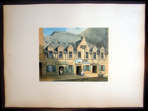 1849 Fairnbiarn Large Antique Print of Mansion Stockwell Street Glasgow Scotland