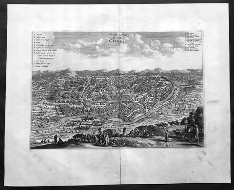 1670 Dapper & Ogilby Large Old, Antique Print View of Cairo, Egypt
