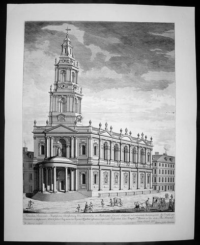 1724 Kip Large Antique Folio Print of St Marys Church The Strand London England