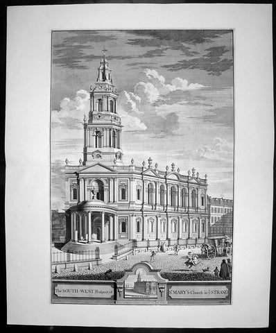 1724 Johannes Kip Large Antique Folio Print of St Marys Church, The Strand, London