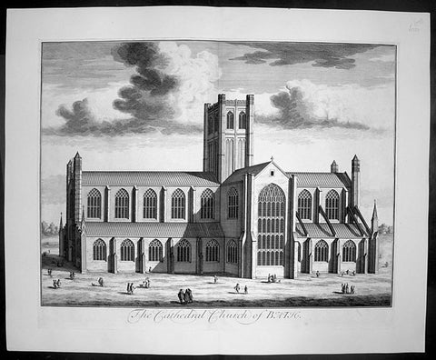 1724 Johannes Kip Large Antique Print of Bath Cathedral, Somerset, England