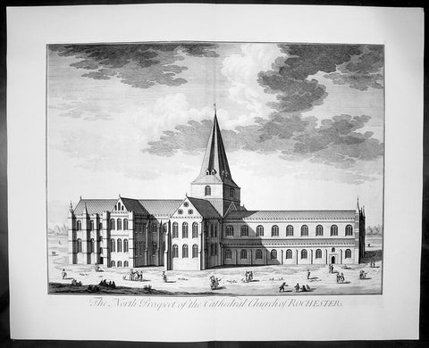1724 Johannes Kip Large Antique Print of Rochester Cathedral, Kent, England