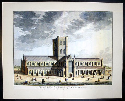 1724 Johannes Kip Large Antique Print a View of Carlisle Church in Cumbria, England