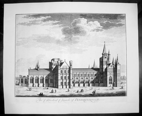 1724 Kip Large Antique Folio Print of Peterborough Cathedral, England