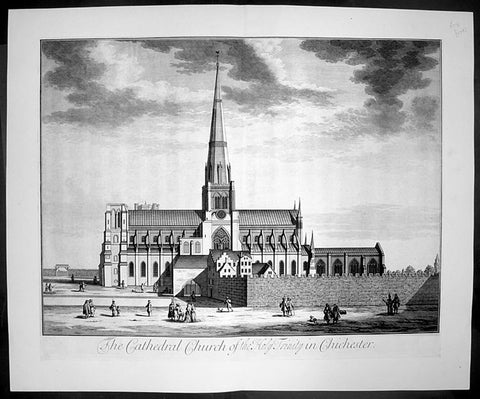 1724 Johannes Kip Large Antique Print The Holy Trinity Cathedral, Chichester, England