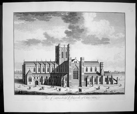 1724 Johannes Kip Large Antique Print of Chester Cathedral Church, Cheshire, England