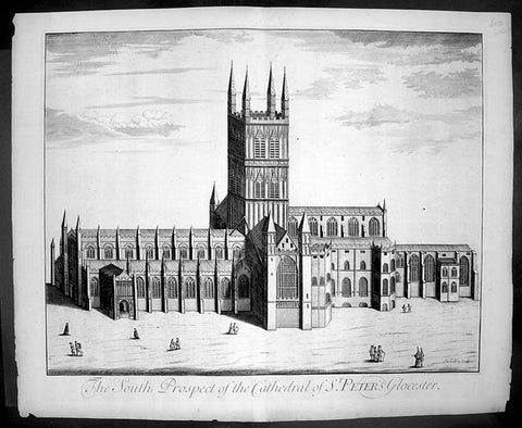 1724 Johannes Kip Large Antique Print of Gloucester Cathedral, England