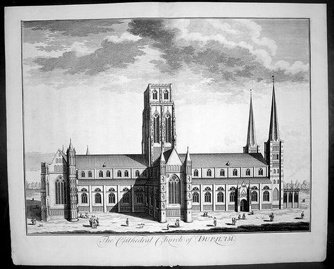 1724 Johannes Kip Large Antique Print of Durham Cathedral, England