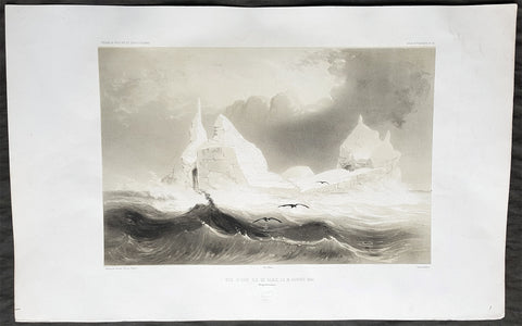 1841 D Urville Large Antique Folio Print View of Icebergs on the Adélie Coast, Antarctica