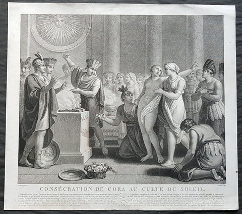 1799 Le Barbier Large Antique Print Consecration of Cora to the Sun Cult, Mexico