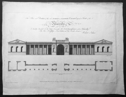 1760 Robert Adams Large Antique Print Gateway to The Old Admiralty Building, London