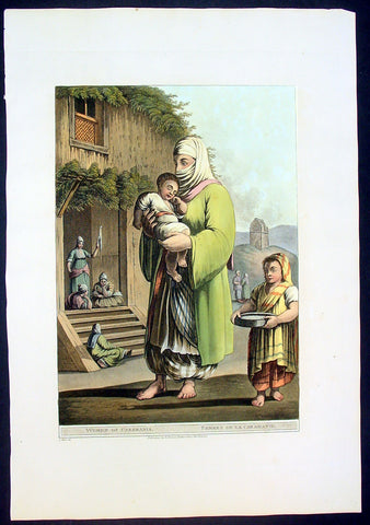1803 Mayer Large Antique Print of a Woman & Child of Karaman, Turkey