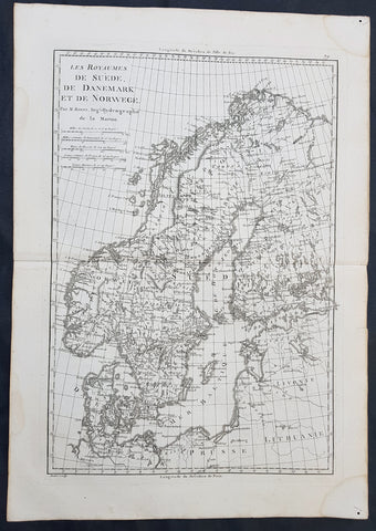1780 Rigobert Bonne Original Antique Map of Scandinavia Sweden, Norway & Denmark