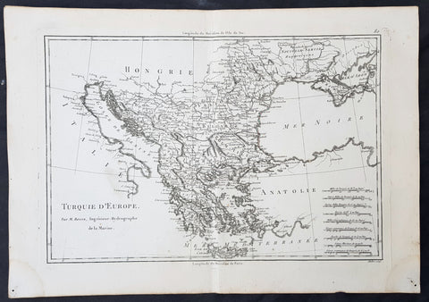 1780 Rigobert Bonne Original Antique Map of Turkey in Europe - Greece to Hungary
