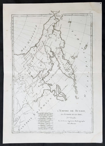1780 Rigobert Bonne Original Antique Map of Eastern Russia, China