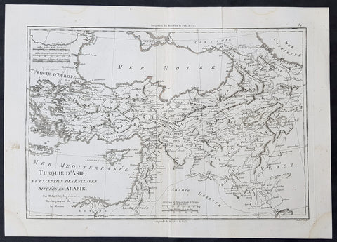 1780 Rigobert Bonne Original Antique Map of Turkey in Asia - Black Sea to Persia